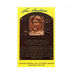 Lou Boudreau Signed Gold Hall of Fame Postcard (JSA Hologram)