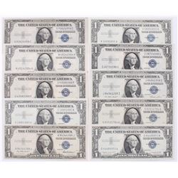 Lot of (10) $1 One Dollar Blue Seal Silver Certificates with (6) 1935  (4) 1957