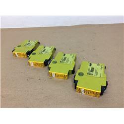 (4) PILZ PNOZ X2P 24VACDC 2N/O w/ PILZ PZE X4P 24VDC 4N/O