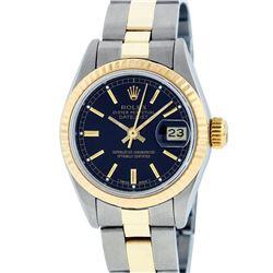 Rolex Ladies 2 Tone 14K Black Index 26MM Oyster Band Fluted Datejust Wristwatch