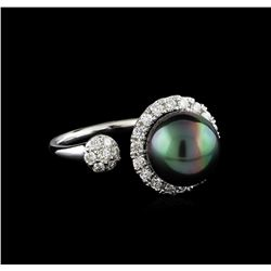 0.63 ctw Pearl and Diamond Ring - 14KT White Gold