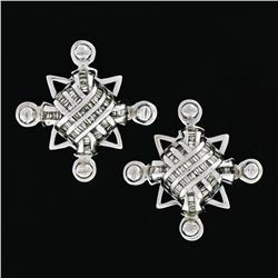 Unisex Large 14K White Gold 1.15 ctw Channel Baguette Diamond Domed Stud Earring