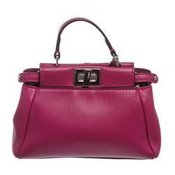 Fendi Pink Nappa Leather Peekaboo Micro Crossbody Handbag
