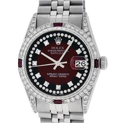 Rolex Mens Stainless Steel Diamond Lugs Red Vignette & Ruby Datejust Wristwatch