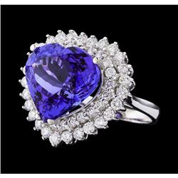 GIA Cert 12.12 ctw Tanzanite and Diamond Ring - 14KT White Gold