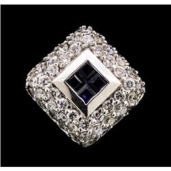 0.55 ctw Diamond and Sapphire Pendant - 14KT White Gold