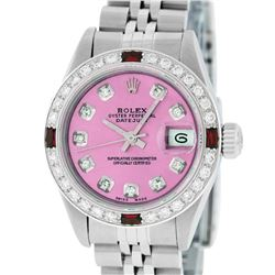 Rolex Ladies Stainless Steel Quickset Pink Diamond & Ruby Wristwatch
