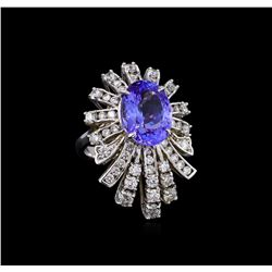 5.95 ctw Tanzanite and Diamond Ring - 14KT White Gold