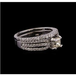 1.40 ctw Diamond Wedding Ring Set - 14KT White Gold