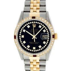 Rolex Mens 2 Tone 14K Black String Diamond & Ruby 36MM Datejust Wristwatch