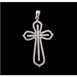 1.00 ctw Diamond Cross Pendant - 14KT White Gold