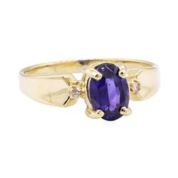 1.09 ctw Blue Sapphire and Diamond Ring - 10KT Yellow Gold
