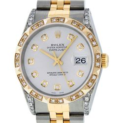 Rolex Mens 2 Tone 14K Lugs Silver Diamond Pyramid Diamond 36MM Datejust