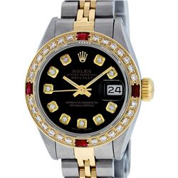 Rolex Ladies 2 Tone Black Diamond & Ruby Datejust Wristwatch