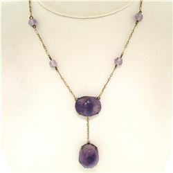 10k Yellow Gold and Silver Carved Amethyst Dangle Necklace