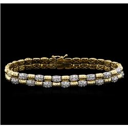 1.94 ctw Diamond Bracelet - 14KT Two-Tone Gold
