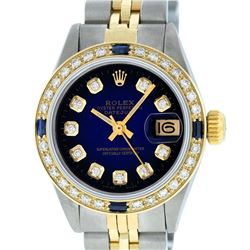 Rolex Ladies 2 Tone Blue Vignette Diamond & Sapphire Datejust Wristwatch