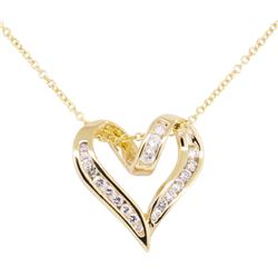 0.50 ctw Diamond Heart Shaped Pendant with Chain - 14KT Yellow Gold