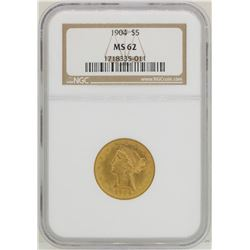 1904 $5 Liberty Head Half Eagle Gold Coin NGC MS62
