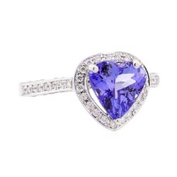 2.61 ctw Tanzanite and Diamond Ring - 14KT White Gold