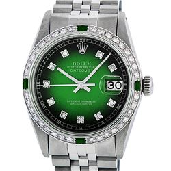 Rolex Mens Stainless Steel Green Vignette Diamond & Emerald Datejust Wristwatch