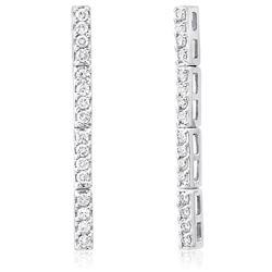 14k White Gold 1.25CTW Diamond Earrings, (H)