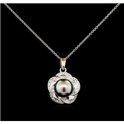 Pearl and Diamond Pendant With Chain - 14KT White Gold