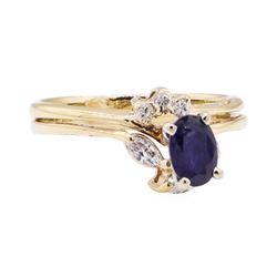 0.91 ctw Blue Sapphire and Diamond Wedding Set - 14KT Yellow Gold