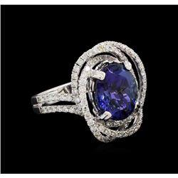 4.60 ctw Tanzanite and Diamond Ring - 18KT White Gold