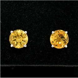 14k White Gold 2.16 ctw Round Citrine  Simple 7.10mm Stud Earrings