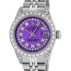 Rolex Ladies Stainless Steel 26MM Purple String Diamond Lugs Datejust Wristwatch