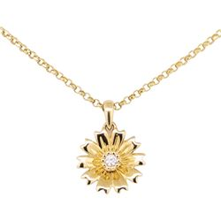 0.02 ctw Diamond Pendant with Chain - 14KT Yellow Gold