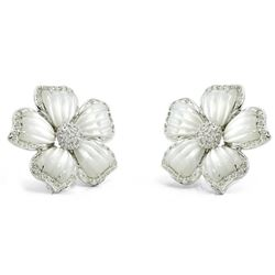 18k White Gold 0.71CTW Mother Of Pearl and Diamond Earrings, (I1-I2/I-J)