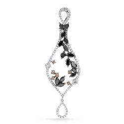 18k White Gold 3.75CTW Diamond and Black Diamonds and Brown Diamonds Pendant, (S