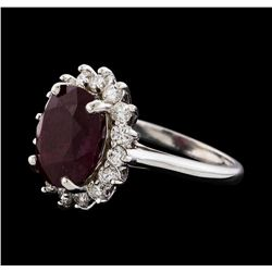 7.28 ctw Ruby and Diamond Ring - 14KT White Gold