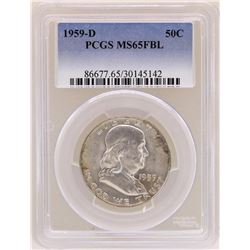 1959-D Franklin Half Dollar Coin PCGS MS65FBL