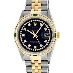 Rolex Mens 2 Tone 14K Black String Diamond & Emerald Datejust Wristwatch