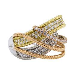 1.53 ctw Diamond Ring - 18KT White, Yellow & Rose Gold