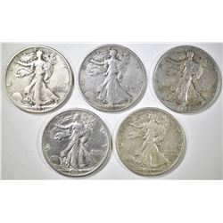 (5) 1933-S WALKING LIBERTY HALF DOLLARS  XF-VF