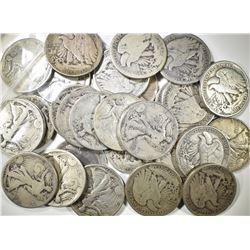 $15 FACE VALUE WALKING LIBERTY HALF DOLLARS