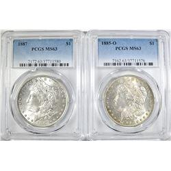 1885-O & 1887 MORGAN DOLLARS  PCGS MS-63