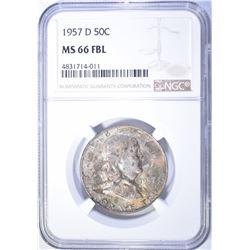 1957-D FRANKLIN HALF DOLLAR NGC MS-66 FBL