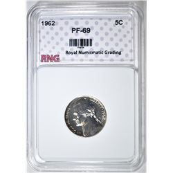1962 JEFFERSON NICKEL RNG GEM PROOF