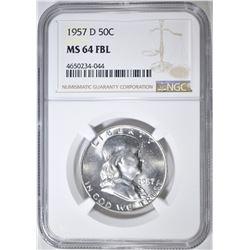 1957-D FRANKLIN HALF DOLLAR  NGC MS-64 FBL