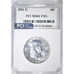 1958-D FRANKLIN HALF DOLLAR  PCI SUPERB GEM FBL