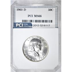 1962-D FRANKLIN HALF DOLLAR   PCI SUPERB GEM
