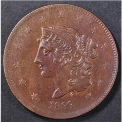 "1839 ONE CENT ""BOOBY HEAD"" CH UNC"