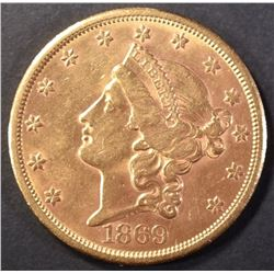 1869-S GOLD $20 LIBERTY HEAD BU