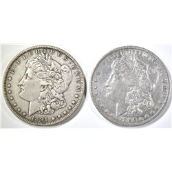 1886-O cleaned & 91-S XF MORGAN DOLLARS