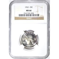 1952 WASHINGTON QUARTER NGC MS-66 RAINBOW COLOR